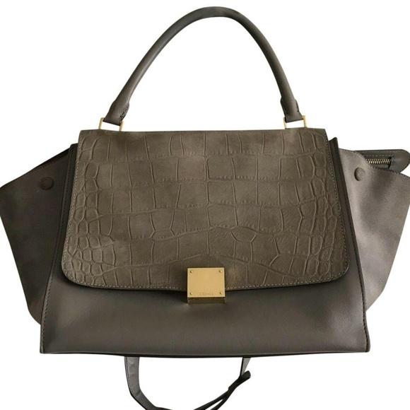 Celine Handbags - CELINE Large Grey Croc Embossed Leather Trapeze